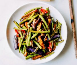 eggplant sequence bean stir-fry