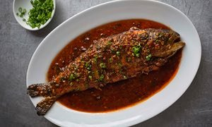 Fuchsia Dunlop's braised trout in chilli bean sauce